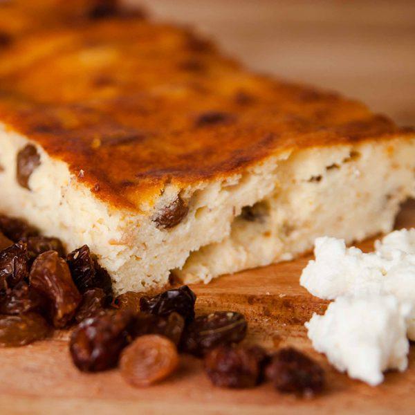 Plăcintă brânză dulce și stafide