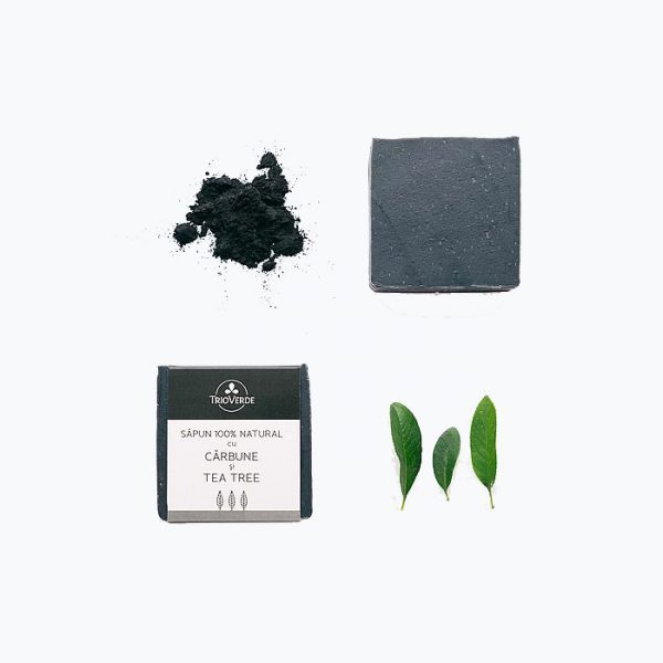 Sapun natural cu carbune si tea tree - Trio Verde