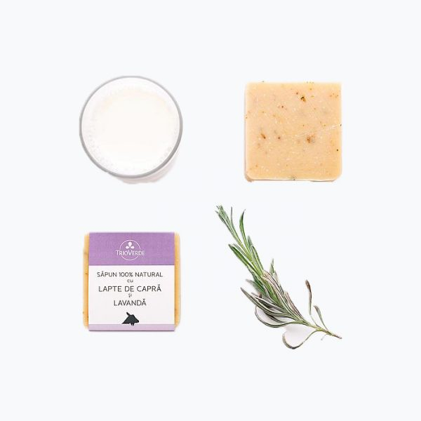 Sapun natural cu lapte de capra si lavanda - Trio Verde
